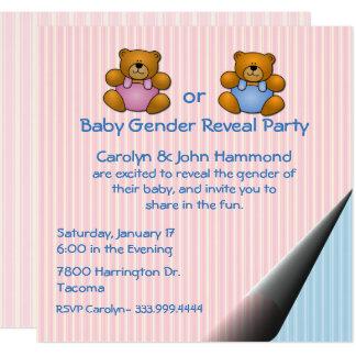 Teddy-Bärn-Baby-Geschlecht decken Party Einladung