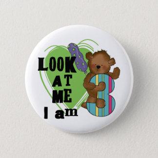 Teddybär bin ich 3 Geburtstags-T-Shirts und Runder Button 5,1 Cm