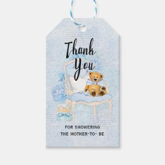 Teddybär-blauer Babyparty-Geschenk-Umbau Geschenkanhänger