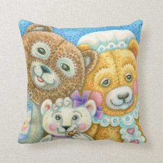 Teddybär-Familien-Bruin-WURFS-KISSEN Zierkissen