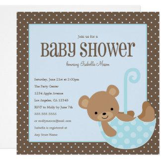 Teddybär im Regenschirm - blaue   Babyparty laden Karte