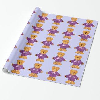 Teddybär in der Epilepsie-Bewusstseins-Strickjacke Geschenkpapier
