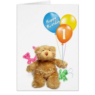 Teddybär und Ballone Karte