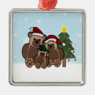 Teddybär-Verzierung Silbernes Ornament