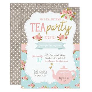 Tee-Party-Baby-Duschen-Einladung Karte