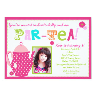 Tee-Party-Geburtstags-Einladung für Mädchen mit 12,7 X 17,8 Cm Einladungskarte