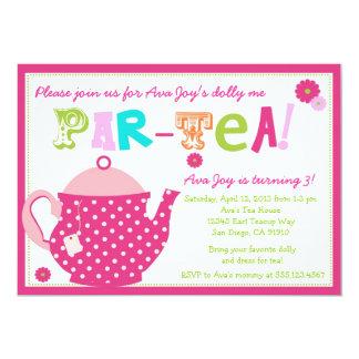 Tee-Party-Geburtstags-Einladung für Mädchen und 12,7 X 17,8 Cm Einladungskarte