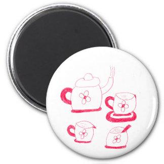 Tee-Zeit-Knopf-Magnet Runder Magnet 5,7 Cm