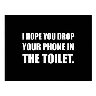 Telefon fällt in Toilette Postkarte