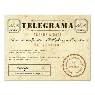 Telegramm des Vintage Agende das Datum 10,8 X 14 Cm Einladungskarte