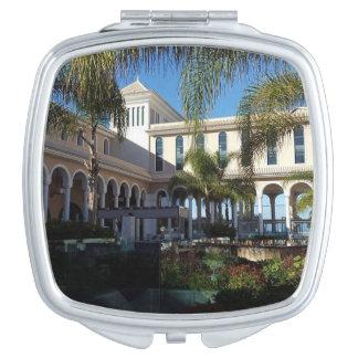 Teneriffa-Hotel und Palme-kompakter Spiegel Taschenspiegel