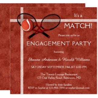 Tennis-Match-Themed Verlobungs-Party Einladung