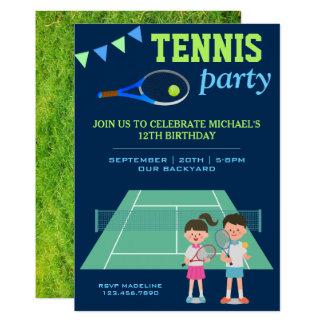 Tennis-Party scherzt Sport-Geburtstags-Einladung Karte