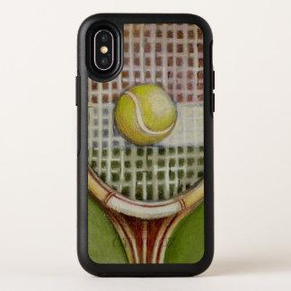 Tennis-Schläger mit dem Ball, der auf Gericht legt OtterBox Symmetry iPhone X Hülle