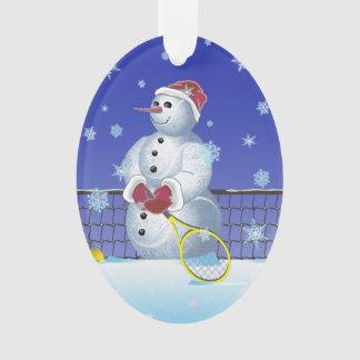 Tennis-Schneemann, frohe Feiertage Ornament