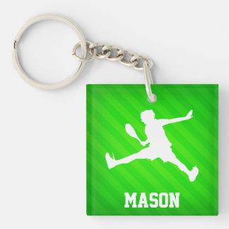 Tennis-Spieler; Grüne Neonstreifen Beidseitiger Quadratischer Acryl Schlüsselanhänger