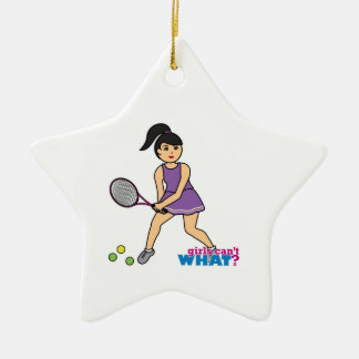 Tennis-Spieler-Mädchen - Medium Keramik Stern-Ornament