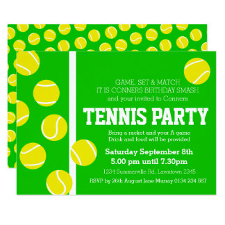 Tennisgeburtstags-Party laden Grünes, Gelbes u. Karte