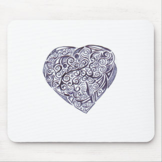 Teppich für Maus schwarzes und weißes Herz Mousepads