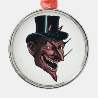 Teufel in einer Tophat Verzierung Rundes Silberfarbenes Ornament