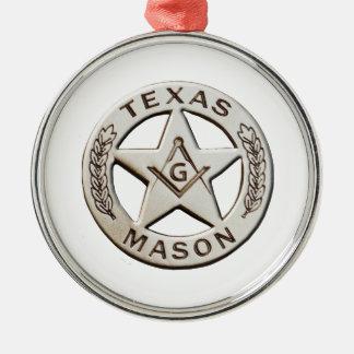 Texas-Maurer Rundes Silberfarbenes Ornament