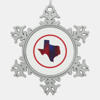 Texas-Staats-abstraktes Rotes u. blau Schneeflocken Zinn-Ornament