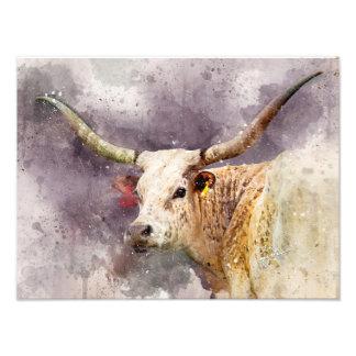 TexasLonghornwatercolor-Foto-abstraktes modernes Fotodruck
