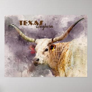 TexasLonghornwatercolor-Foto-abstraktes modernes Poster