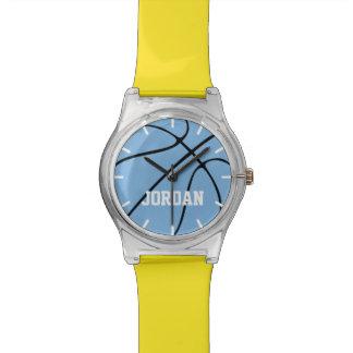Text-Basketball-Uhr des Carolinas des Kindes blaue Armbanduhr