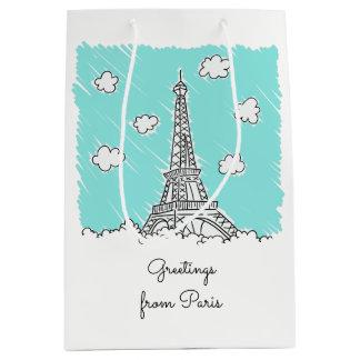 Text-Geschenktasche des Eiffelturms Mittlere Geschenktüte