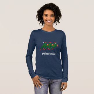 Text-Weihnachtsläufer des Wintertrainings Langarm T-Shirt