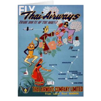 Thailändisches Vintages Flugzeugverkehr-Plakat Grußkarte