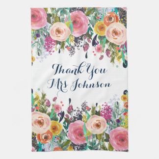 Thank You Teacher Painted Floral Kitchen Towel Küchenhandtuch