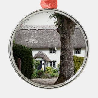 Thatched Hütte, Vereinigtes Königreich 10 Rundes Silberfarbenes Ornament