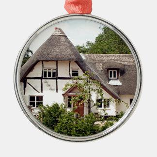 Thatched Hütte, Vereinigtes Königreich 2 Rundes Silberfarbenes Ornament