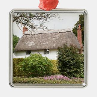 Thatched Hütte, Vereinigtes Königreich 4 Quadratisches Silberfarbenes Ornament