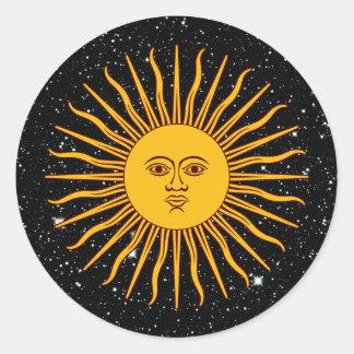 THE SUN VON Raum-Thema ~ MAIS (Solenoid-De Mayo) Runder Aufkleber
