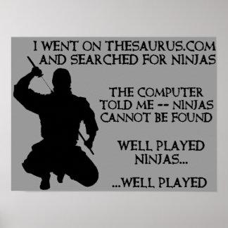 Thesaurus Ninjas lustiges Ninja Plakat-Zeichen Poster