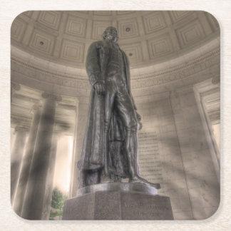 Thomas Jeffersonerinnerungsbronzestatue Rechteckiger Pappuntersetzer