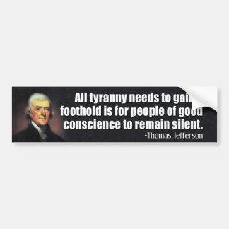 Thomas- Jeffersonzitat Autoaufkleber