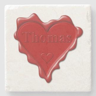 Thomas. Rotes Herzwachs-Siegel mit Namensthomas Steinuntersetzer