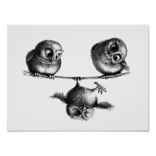 Three Owls - Freedom and Fun Poster