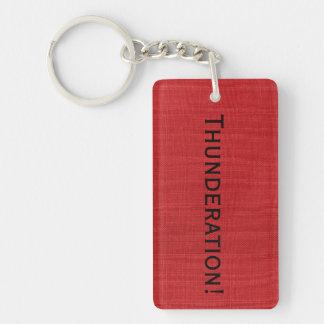Thunderation! mutiger schwarzer Text auf rotem Schlüsselanhänger