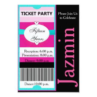 Ticket Party 8,9 X 12,7 Cm Einladungskarte