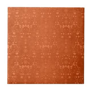 Tief gebranntes orange extravagantes Damast-Muster Keramikfliese