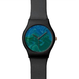 Tiefe blaues Grün Ti-Färbung Armbanduhr