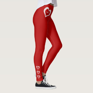 Tiefrote Mode Liebe-Herzenvalentines Tages Leggings