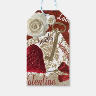 Tiefroter Valentine-Rosen-Goldschlüssel und -herz Geschenkanhänger