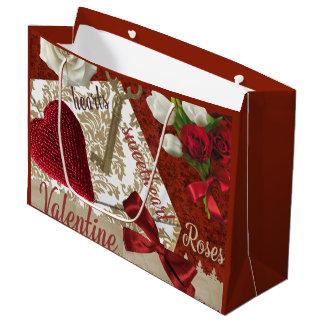 Tiefroter Valentine-Rosen-Goldschlüssel und -herz Große Geschenktüte