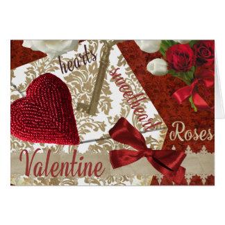 Tiefroter Valentine-Rosen-Goldschlüssel und -herz Karte